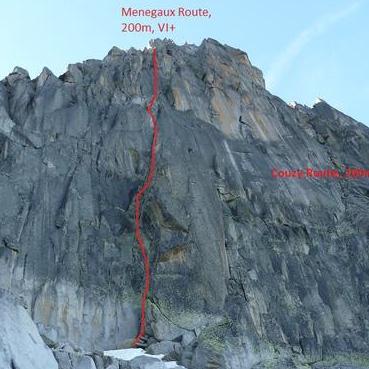 Menegaux Route 200m,VI+, Aiguille de l'M North Face