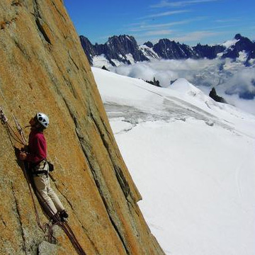 Rebuffat Route, 250m, F6a, Aiguille du Midi South Face