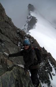 Jo enjoying atmospheric conditions on the traverse of the Breithorn