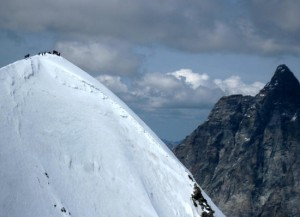 Summit of the Breithorn 4164m with the Matterhorn on the right