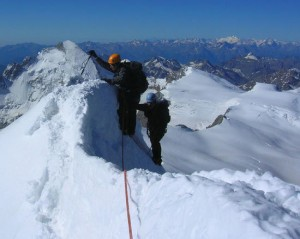 Last few moves along the South Ridge to the summit of the Dent Blanche