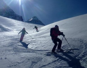 Fun Grippy Windpack Skiing High on the Glacier du Rutor