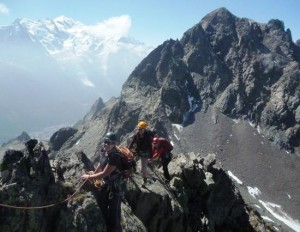 The Mountain Medicine Diploma Training Team on the Traverse of the Crochues