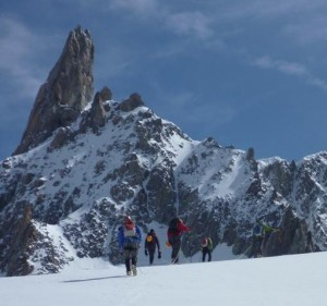 Approaching the Aiguilles Marbrees across the Col du Geant
