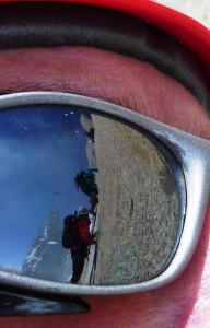 A Sunglasses Day on the Crux of Cosmiques Arete