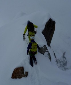Descending the Cosmiques Arete from the Aiguille du Midi Station Chamonix