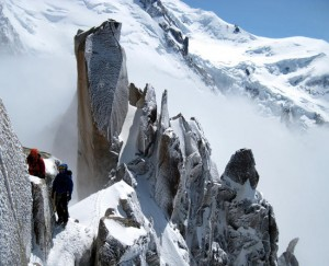 Fine frosty conditions near the top of the Cosmiques Arete, Chamonix