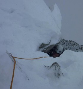 Full on Winter Conditions on the Cosmiques Arete, Chamonix