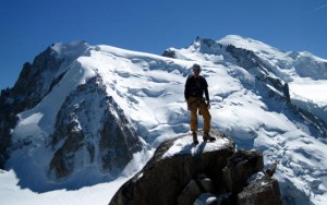 John on the summit of the Cosmiques Arete, Chamonix