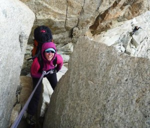 Rocio In the Abseil Chimney of the Cosmiques Arete, Chamonix
