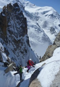 Superb spring mountaineering conditions on the Cosmiques Arete