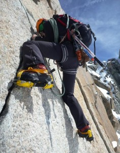 The Famous Crux Wall of the Cosmiques Arete