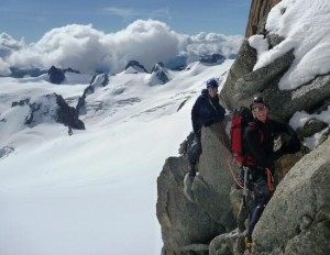 Traversing the South Side of the Arete in the Middle Section