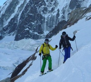 Negotiating the Ski Exit from the Argentiere Glacier