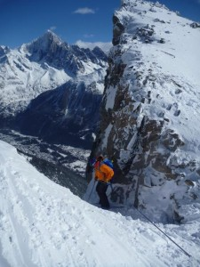 Abseil Into Couloir Vallencant From Brevent Summit Ridge