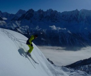 Good Steep Skiing Conditions At Brevent Chamonix Feb 2015