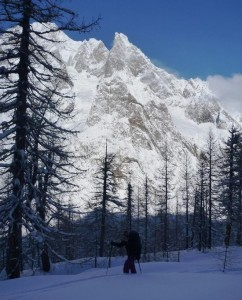 A Wintery Monte Bianco South Face Gives a Stunning Setting for Skinning at Courmayeur Val Veny