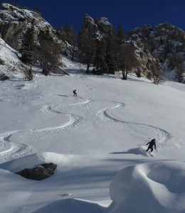 Fresh Tracks on South Facing Slopes at Courmayeur