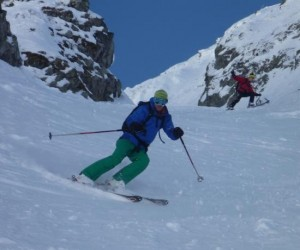 Father and Son Team Tim and Michael Blakemore Skiing the Vormaine Couloirs