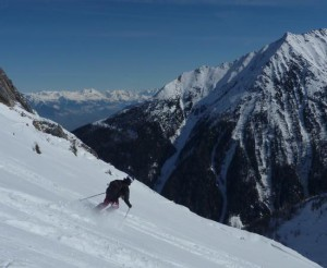 Skiing Above the Col de Balme En Route to Trient