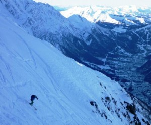 Skiing From Les Grands Montets to the Chamonix Valley in the shade below