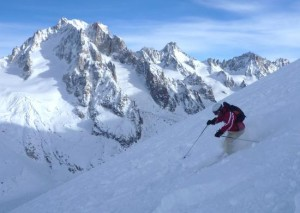 Skiing the Glacier Des Rognons From Les Grands Montets Summit