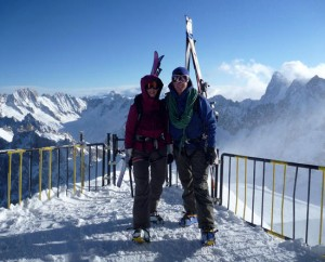 Ready to descend the Midi Arete at the start of the Vallee Blanche
