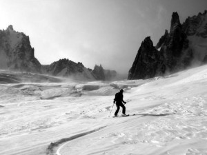 Skiing the classic Vallee Blanche Route in January