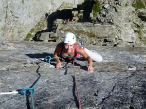 Jenny Crimping on the Steep Sun Rock of the Brevent South Face
