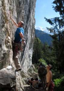 The warm-up route at Bionnassay Chamonix