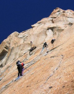 Climbers Established on the Brilliant S Crack on the Classic Voie Rebbuffat