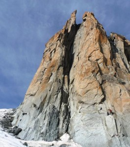 The Voie Salluard Takes the Superb Granite Pillar Left of the Gully
