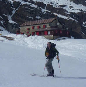 Leaving the Pleasant Benevolo Hut En Route for Punta Galisia 3346m