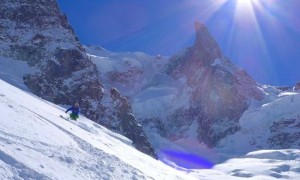 Great Powder High On The Periades Glacier With The Dent Du Geant Above