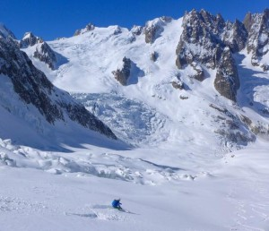 Great Sustained Skiing Back Down To The Italian Side Of Geant Icefall & Salle A Manger