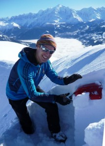 British Guide Owen Samuels Doing a Snow Stability Test