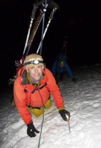 0400 and halfway up the sustained mountaineering ridge of the Arete Royale