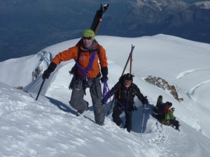 Carrying Skis High on the Bosses Arete of Mont Blanc