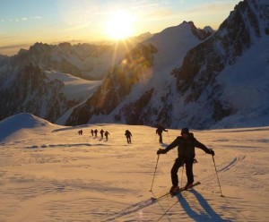 May Dawn  Pristine skinning conditions traversing the Dome du Gouter