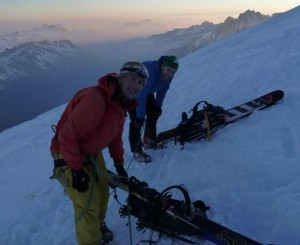 One of many ski  skinning  booting transitions on the ski ascent of Mont Blanc