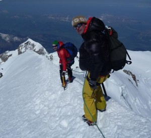 Quality mountaineering in a superb position  The Bosses Ridge near the summit of Mont Blanc