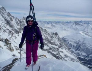 Fun Ski Mountaineering Ridge On The French Italian Alpine Border