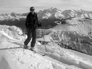 Superb Ridge skinning with the Mont Blanc massif in the background