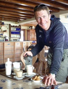 Coffee morning in the Bonatti Hut en route to the Col de Malatra Val Ferret