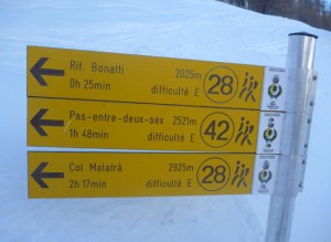 Specific route times on the ascent out of the Val Ferret