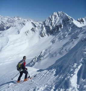 The steep entrance pitch on the ski of Mont Fortin North Face