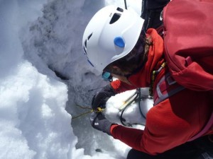 Making An Ice Thread Abalokov Abseil Anchor