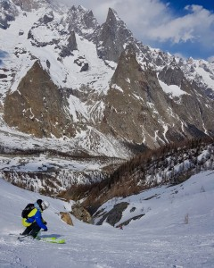 Skiing Down Vallon Des Vesses To Val Veny