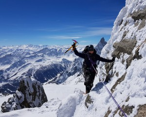 Marina on the snowy spring traverse of the Aiguilles Marbrees