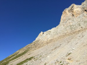 The steep approach path to the Col Vert above the Col de Aretes Noir / Col de Doran